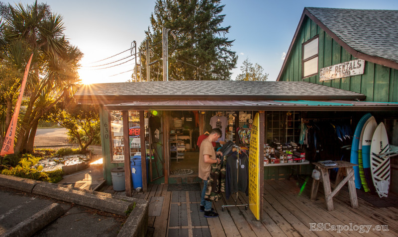 Surf shops line the main road of Tofino