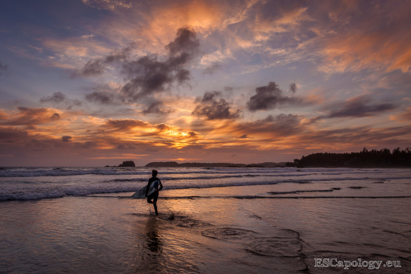 Cold water sunset surf in Tofino – no crowds